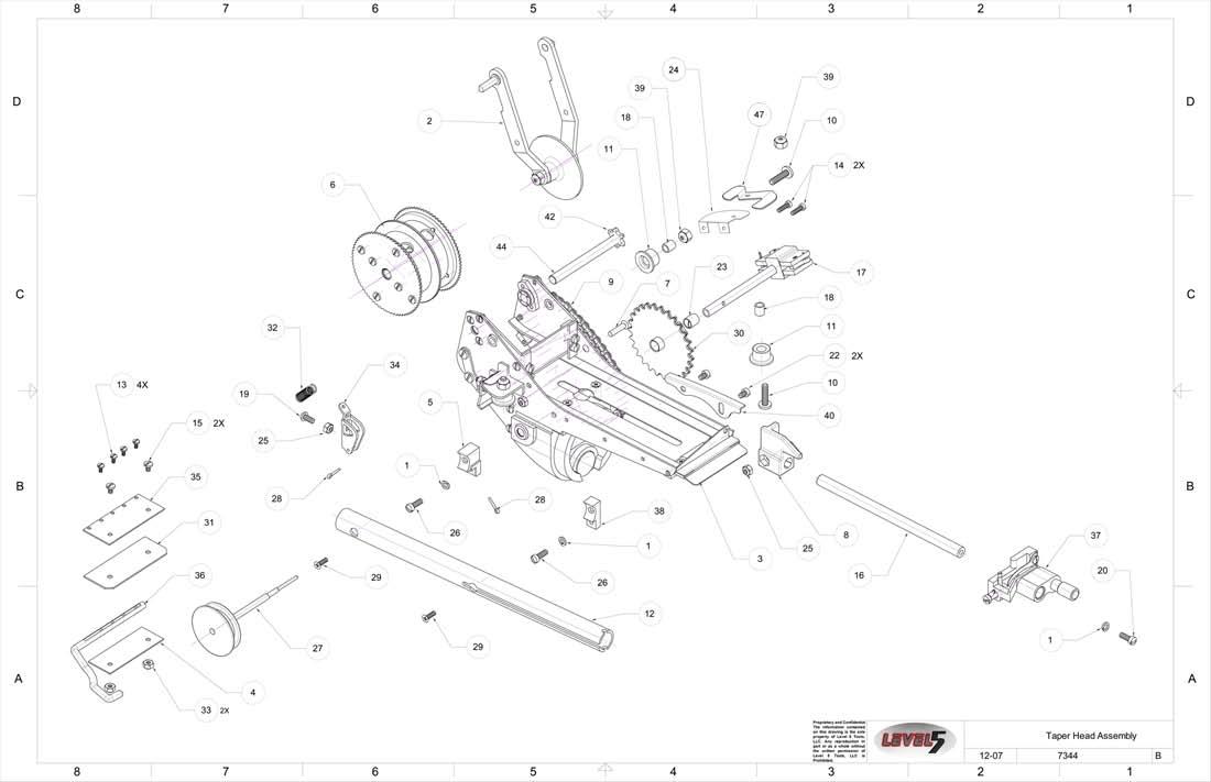 doc 4 700 at taper head assembly level 5 taper, level 5 tools taper, drywall tools, bazooka parts